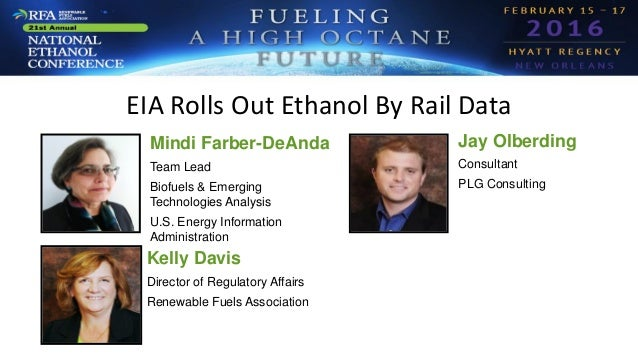 EIA Rolls Out Ethanol By Rail Data Mindi Farber-DeAnda Team Lead Biofuels & Emerging Technologies Analysis U.S. Energy Inf...