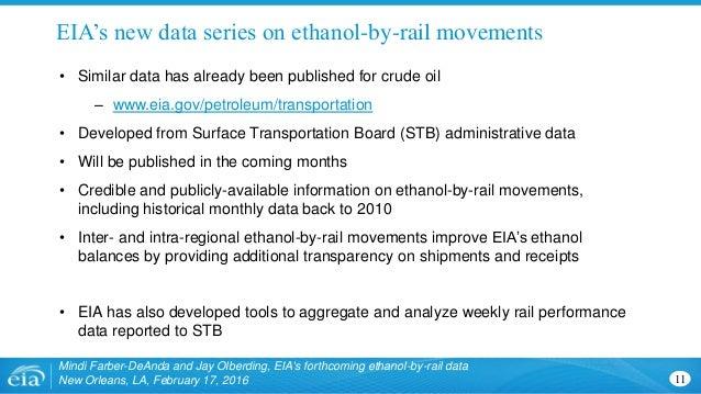 EIA's new data series on ethanol-by-rail movements Mindi Farber-DeAnda and Jay Olberding, EIA's forthcoming ethanol-by-rai...