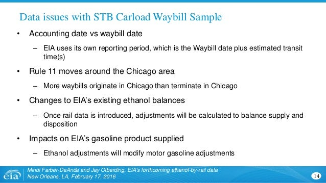 Data issues with STB Carload Waybill Sample 14 Mindi Farber-DeAnda and Jay Olberding, EIA's forthcoming ethanol-by-rail da...