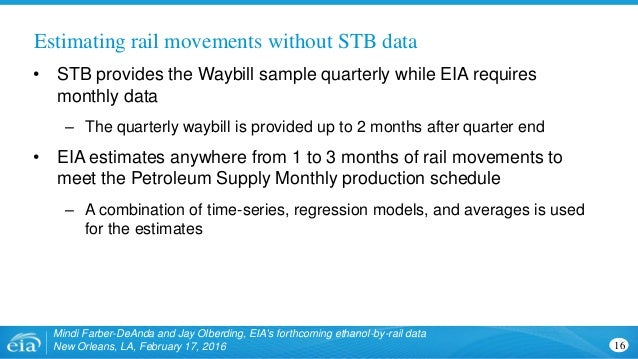 Estimating rail movements without STB data 16 Mindi Farber-DeAnda and Jay Olberding, EIA's forthcoming ethanol-by-rail dat...