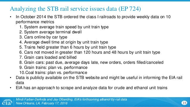Analyzing the STB rail service issues data (EP 724) Mindi Farber-DeAnda and Jay Olberding, EIA's forthcoming ethanol-by-ra...