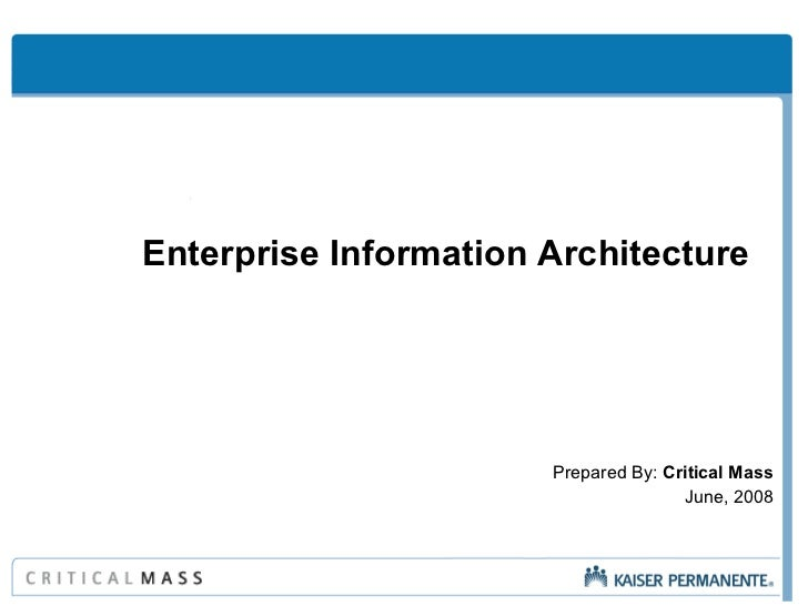 Enterprise Information Architecture  Prepared By:  Critical Mass June, 2008