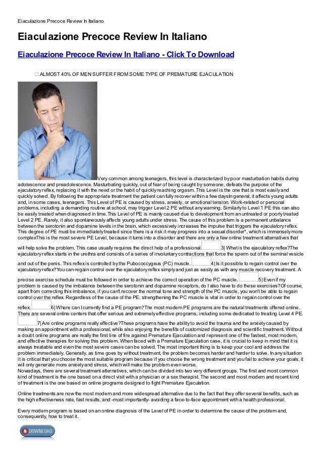 Eiaculazione Precoce Review In ItalianoEiaculazione Precoce Review In ItalianoEiaculazione Precoce Review In Italiano - Cl...