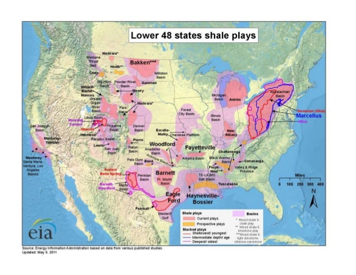Map Of Lower Us States EIA Map Showing Lower 48 U.S. States Shale Plays