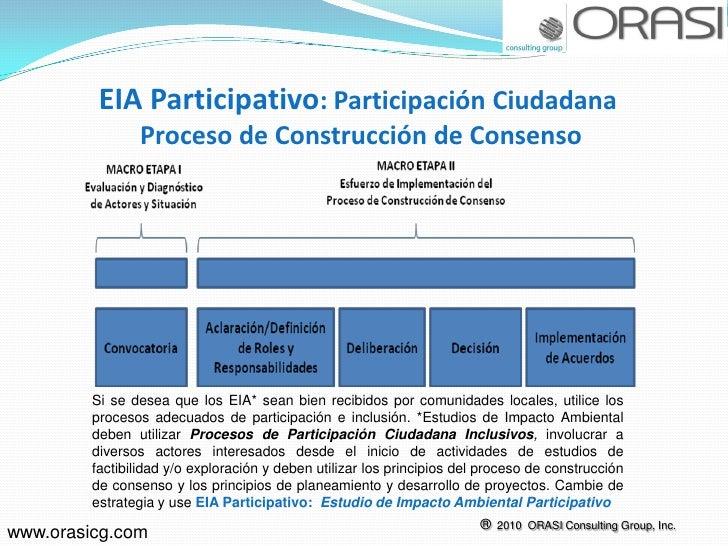 EIA Participativo: Participación Ciudadana                Proceso de Construcción de Consenso         Si se desea que los ...