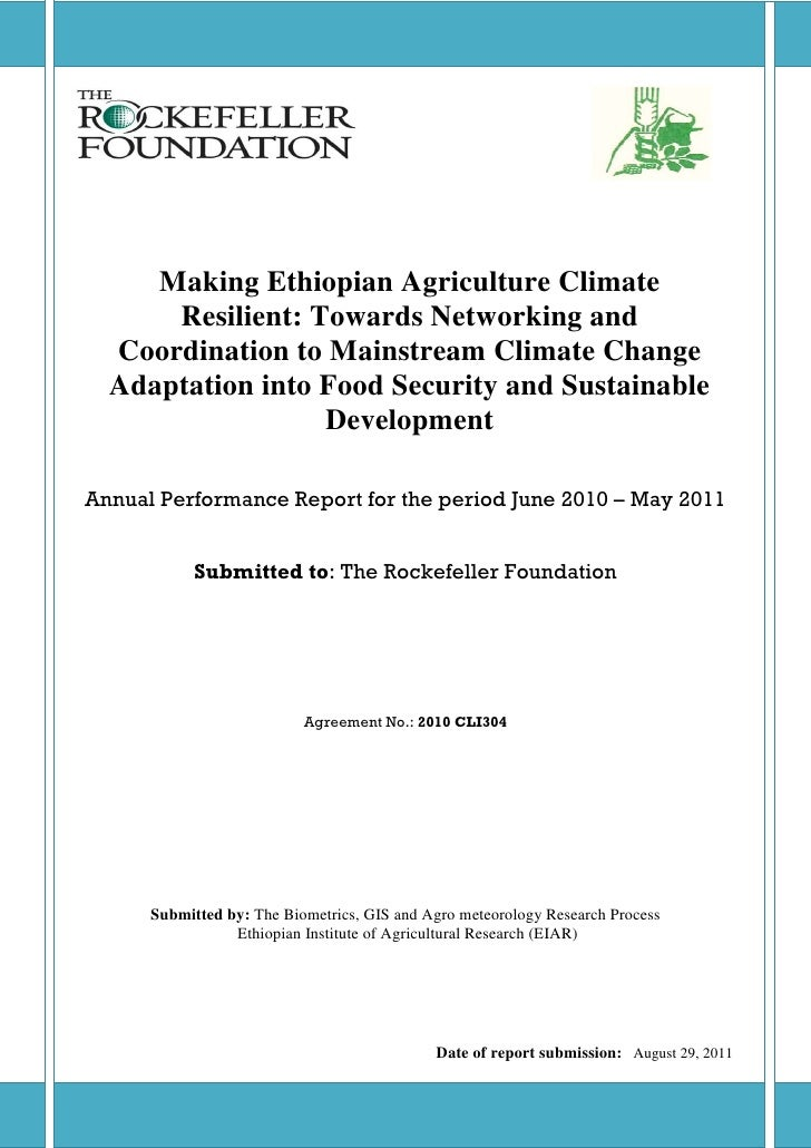 Making Ethiopian Agriculture Climate      Resilient: Towards Networking and  Coordination to Mainstream Climate Change  Ad...