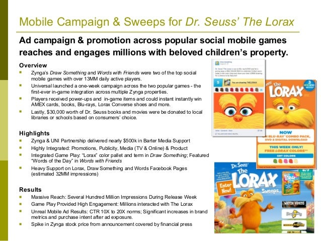 Mobile Campaign & Sweeps for Dr. Seuss' The LoraxAd campaign & promotion across popular social mobile gamesreaches and eng...