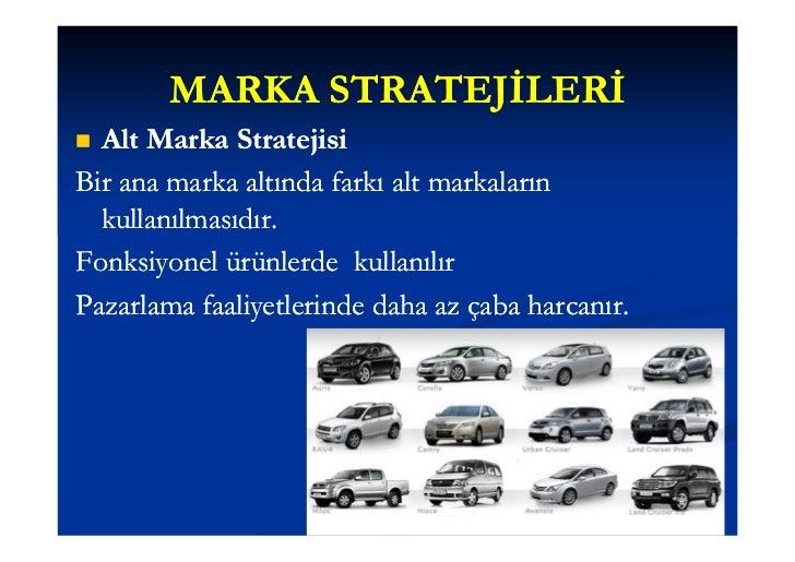 MARKA STRATEJİLERİMarka Genişletme StratejisiAynı markanın farklı ürün sınıfları için kullanımıdır. kullanımıdır.