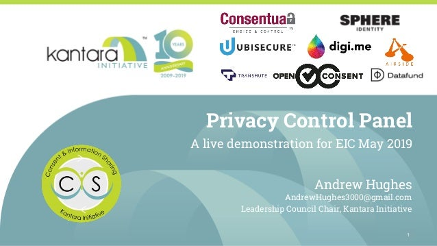 Privacy Control Panel A live demonstration for EIC May 2019 Andrew Hughes AndrewHughes3000@gmail.com Leadership Council Ch...