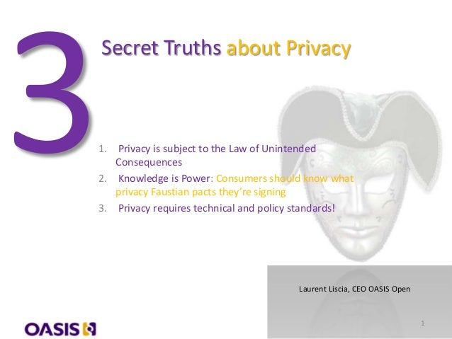 Secret Truths about Privacy1. Privacy is subject to the Law of UnintendedConsequences2. Knowledge is Power: Consumers shou...