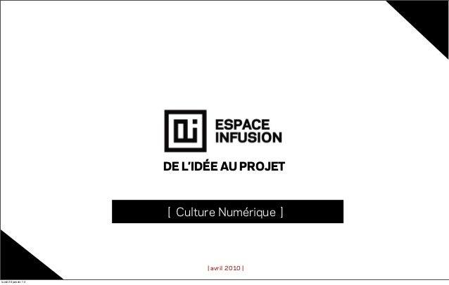 DE L'IDÉE AU PROJET  [ Culture Numérique ]  | avril 2010 | lundi 20 janvier 14