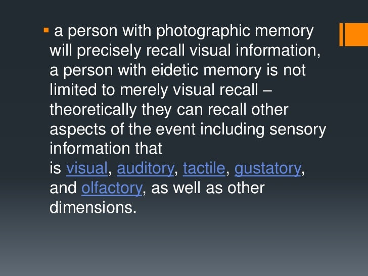 Difference Between Natural Memory And Eidetic Memory
