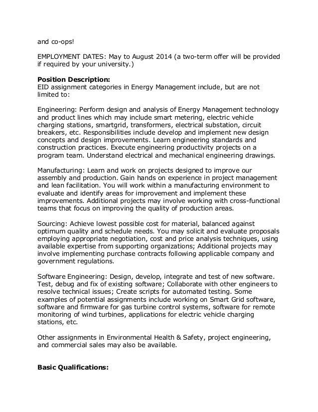 High Quality Summer Intern Job Description