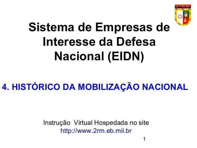 1 Sistema de Empresas de Interesse da Defesa Nacional (EIDN) Instrução Virtual Hospedada no site http://www.2rm.eb.mil.br ...