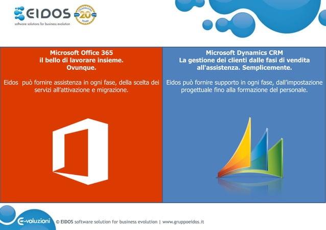 © EIDOS software solution for business evolution   www.gruppoeidos.it Microsoft Dynamics CRM La gestione dei clienti dalle...