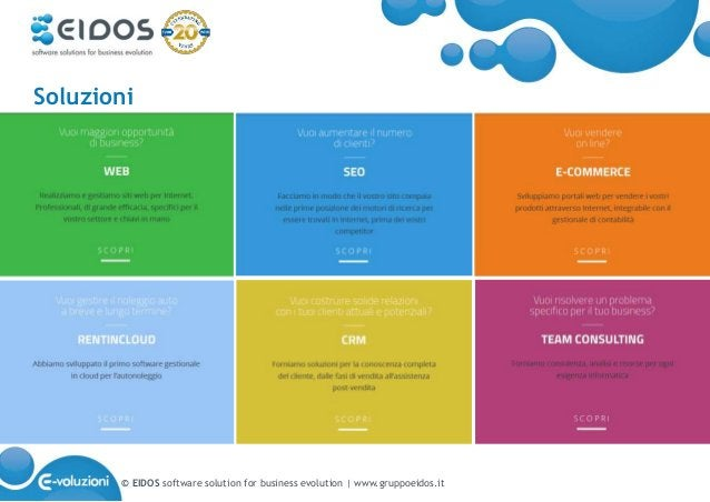 © EIDOS software solution for business evolution   www.gruppoeidos.it Soluzioni