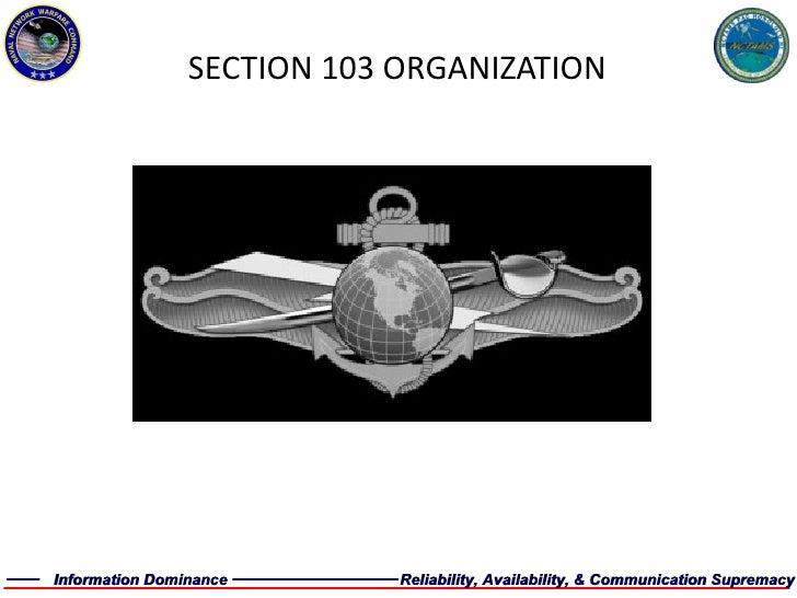 SECTION 103 ORGANIZATION
