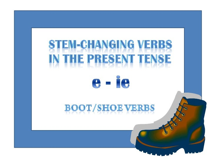 E-IE Stem-Changing Verbs in the Present Tense Slide 1