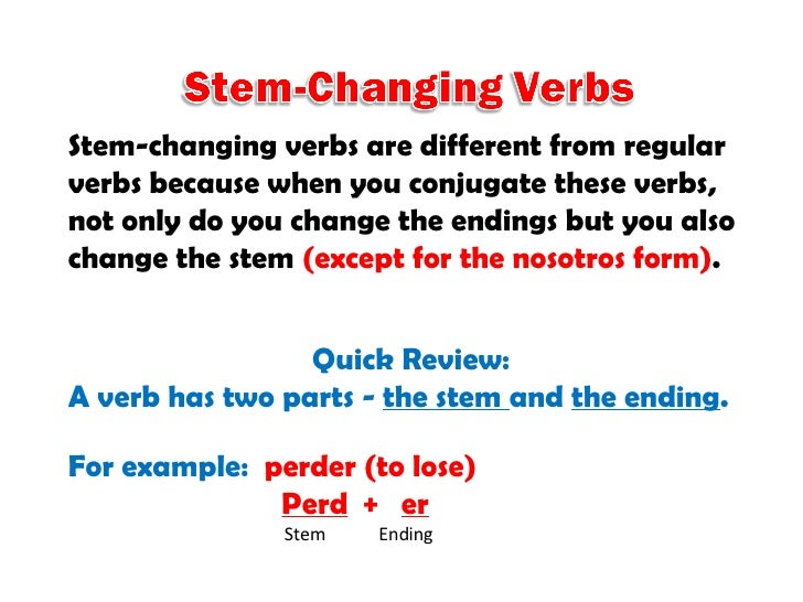 E-IE Stem-Changing Verbs in the Present Tense Slide 2