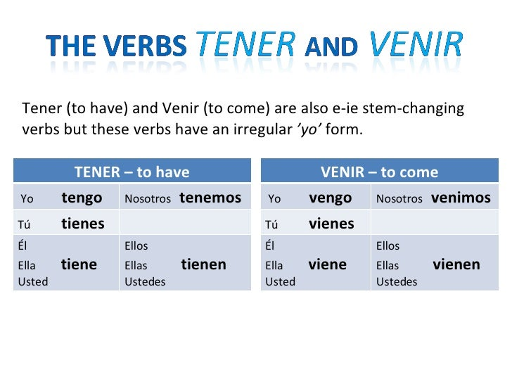 E-IE Stem-Changing Verbs in the Present Tense