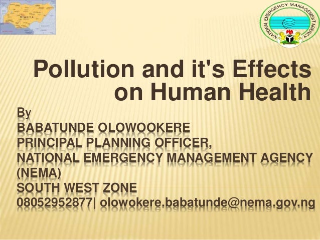 By BABATUNDE OLOWOOKERE PRINCIPAL PLANNING OFFICER, NATIONAL EMERGENCY MANAGEMENT AGENCY (NEMA) SOUTH WEST ZONE 0805295287...