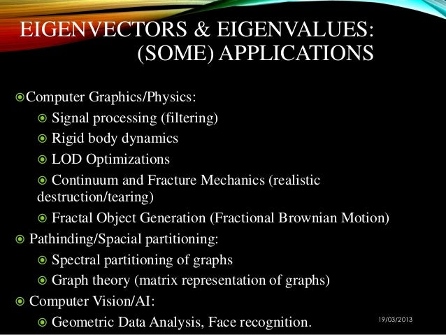 theory and application of eignvalue and