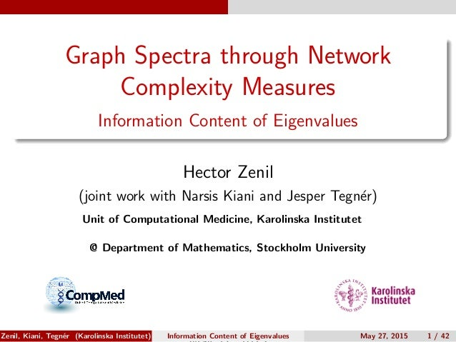 Graph Spectra through Network Complexity Measures Information Content of Eigenvalues Hector Zenil (joint work with Narsis ...