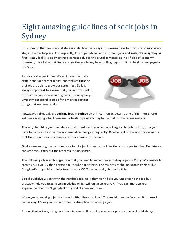 Eight Amazing Guidelines Of Seek Jobs In Sydney It Is Common That The  Financial State Is Enhance Your Profile In The Job Search ...