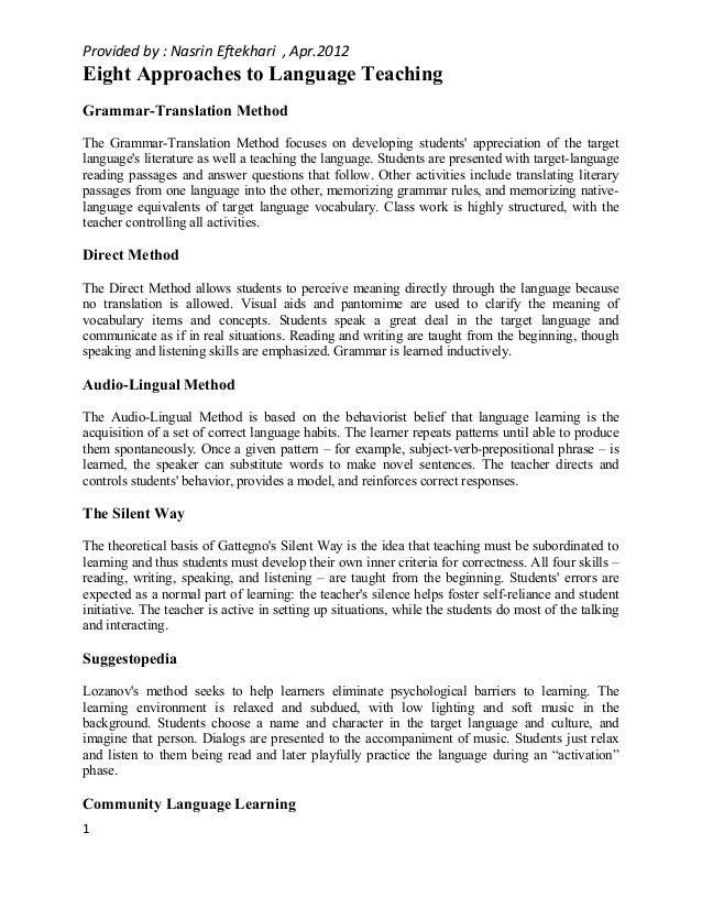 eight approaches to language teaching provided by nasrin eftekhari apr 2012 eight approaches to language teaching grammar