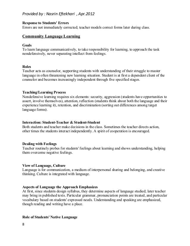 eight approaches to language teaching