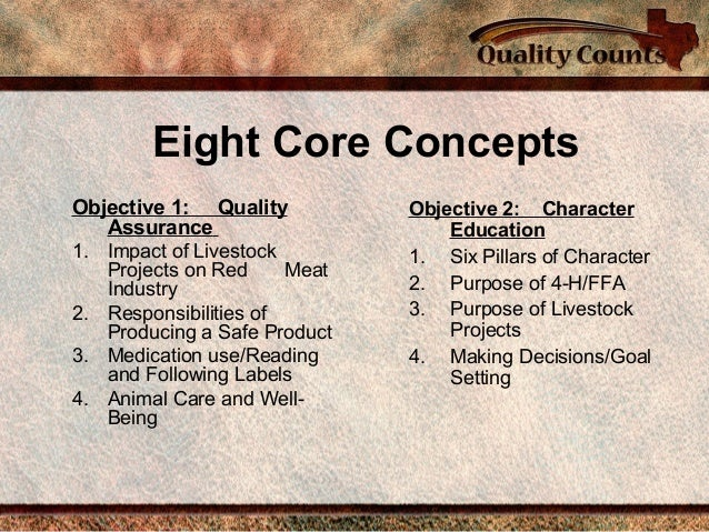 Eight Core Concepts Objective 1: Quality Assurance 1. Impact of Livestock Projects on Red Meat Industry 2. Responsibilitie...