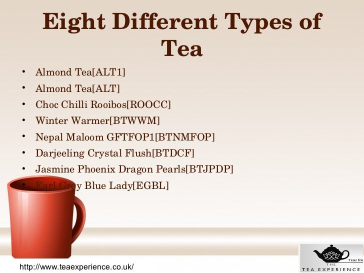 Eight Different Types Of Quality Tea