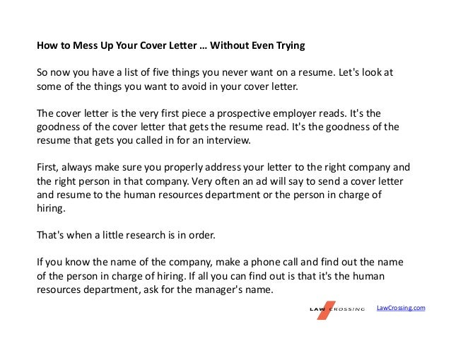 Cover Letter Without Address How To Write A Cover Letter With ...