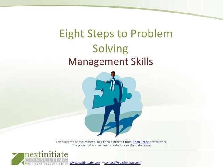 Management Skills<br />    Eight Steps to Problem Solving<br />