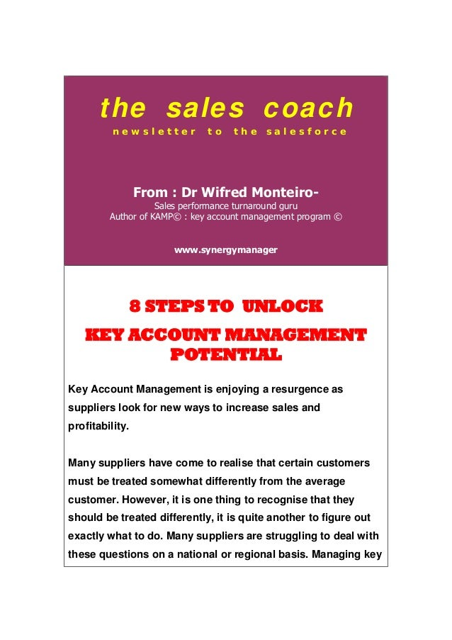 the sales coach n e w s l e t t e r t o t h e s a l e s f o r c e From : Dr Wifred Monteiro- Sales performance turnaround ...