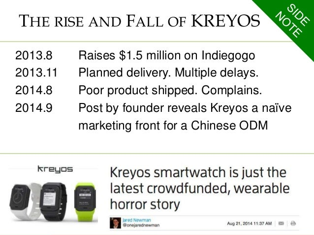 THE RISE AND FALL OF KREYOS  2013.8 Raises $1.5 million on Indiegogo  2013.11 Planned delivery. Multiple delays.  2014.8 P...