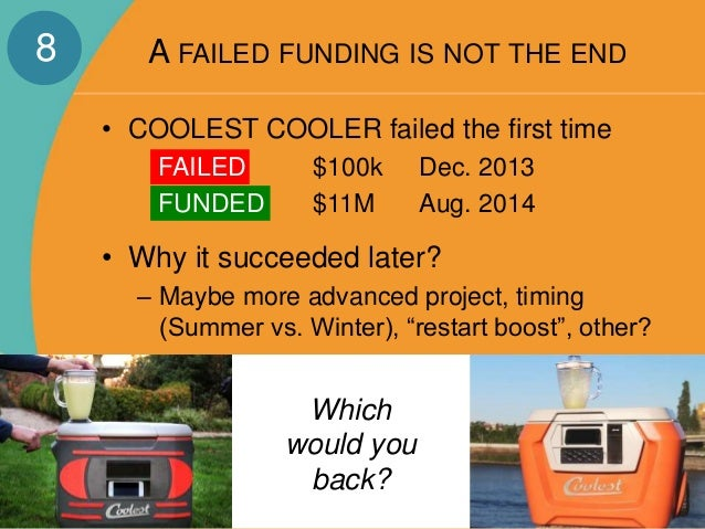 A FAILED FUNDING IS NOT THE END  • COOLEST COOLER failed the first time  FAILED $100k Dec. 2013  FUNDED $11M Aug. 2014  • ...