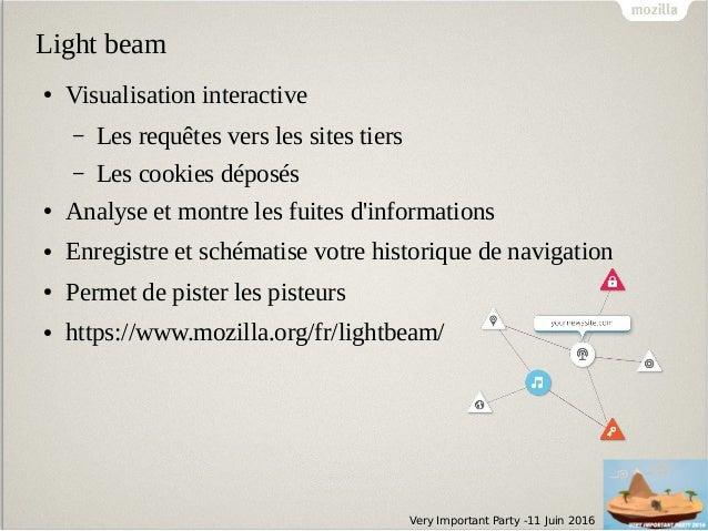 Very Important Party -11 Juin 2016 Light beam ● Visualisation interactive – Les requêtes vers les sites tiers – Les cookie...