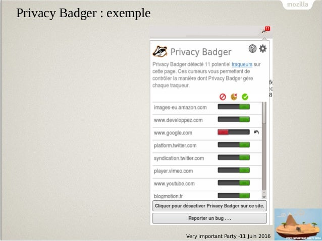 Very Important Party -11 Juin 2016 Privacy Badger : exemple
