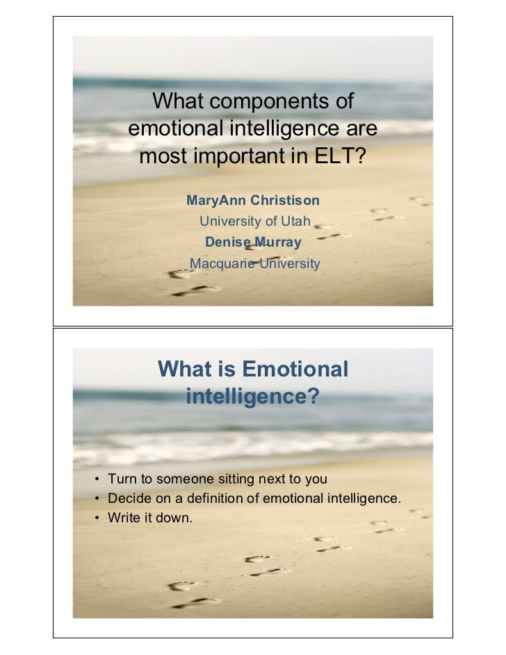 What components of     emotional intelligence are      most important in ELT?               MaryAnn Christison            ...