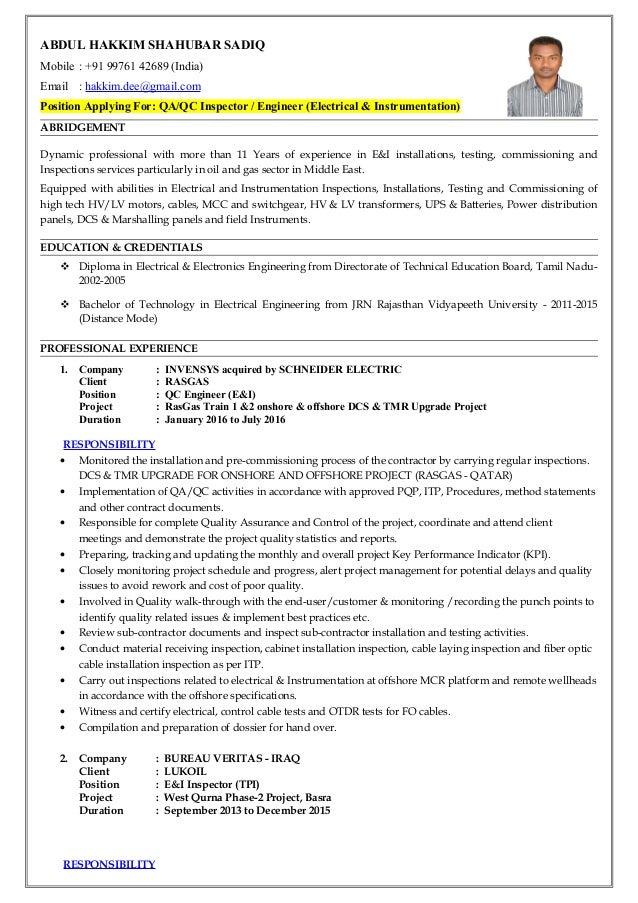 electrical maintenance technician cv june 2020