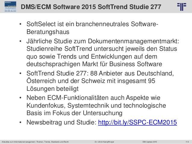 113 © PROJECT CONSULT Unternehmensberatung Dr. Ulrich Kampffmeyer GmbH 2011 / Autorenrecht: <Vorname Nachname> Jun-15 / Qu...