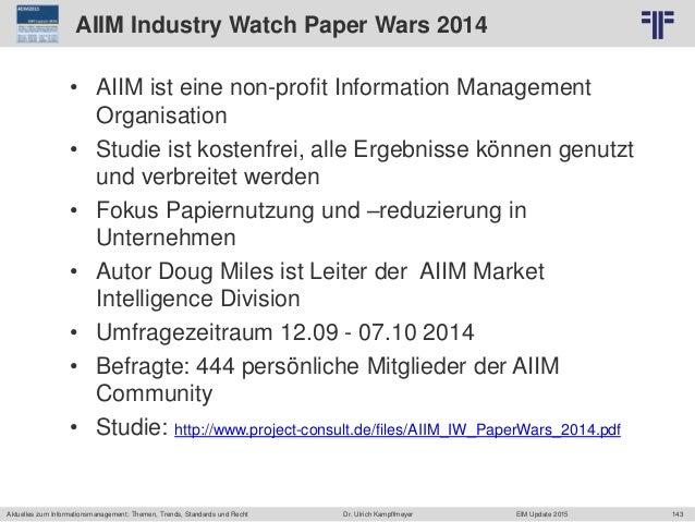 143 © PROJECT CONSULT Unternehmensberatung Dr. Ulrich Kampffmeyer GmbH 2011 / Autorenrecht: <Vorname Nachname> Jun-15 / Qu...