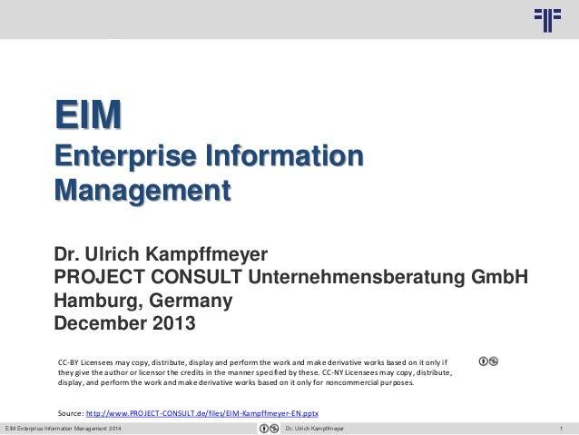 1 © PROJECT CONSULT Unternehmensberatung Dr. Ulrich Kampffmeyer GmbH 2011 / Autorenrecht: <Vorname Nachname> Jun-14 / Quel...