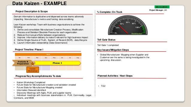 Eim project status example of scope