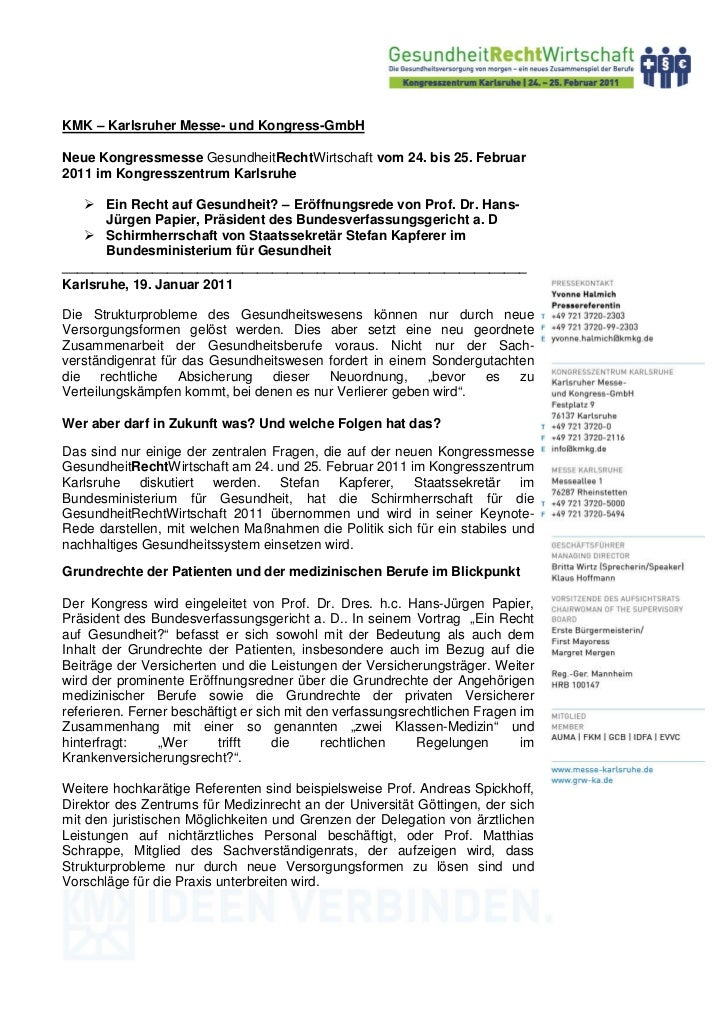 KMK – Karlsruher Messe- und Kongress-GmbHNeue Kongressmesse GesundheitRechtWirtschaft vom 24. bis 25. Februar2011 im Kongr...