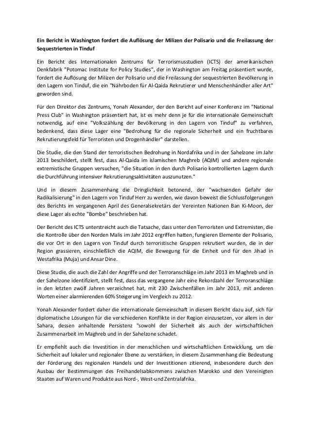 Ein Bericht in Washington fordert die Auflösung der Milizen der Polisario und die Freilassung der Sequestrierten in Tinduf...