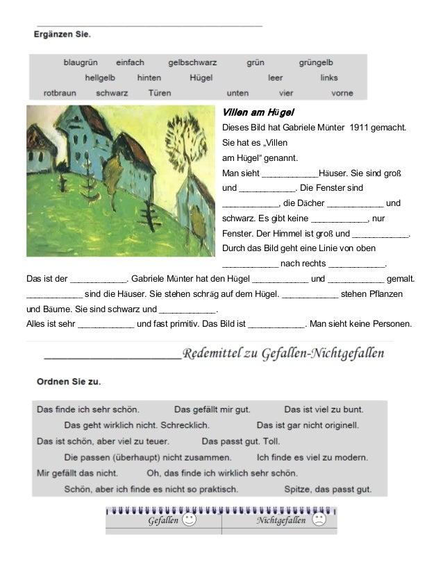 """Villen am HügelDieses Bild hat Gabriele Münter 1911 gemacht.Sie hat es """"Villenam Hügel"""" genannt.Man sieht _____________Häu..."""