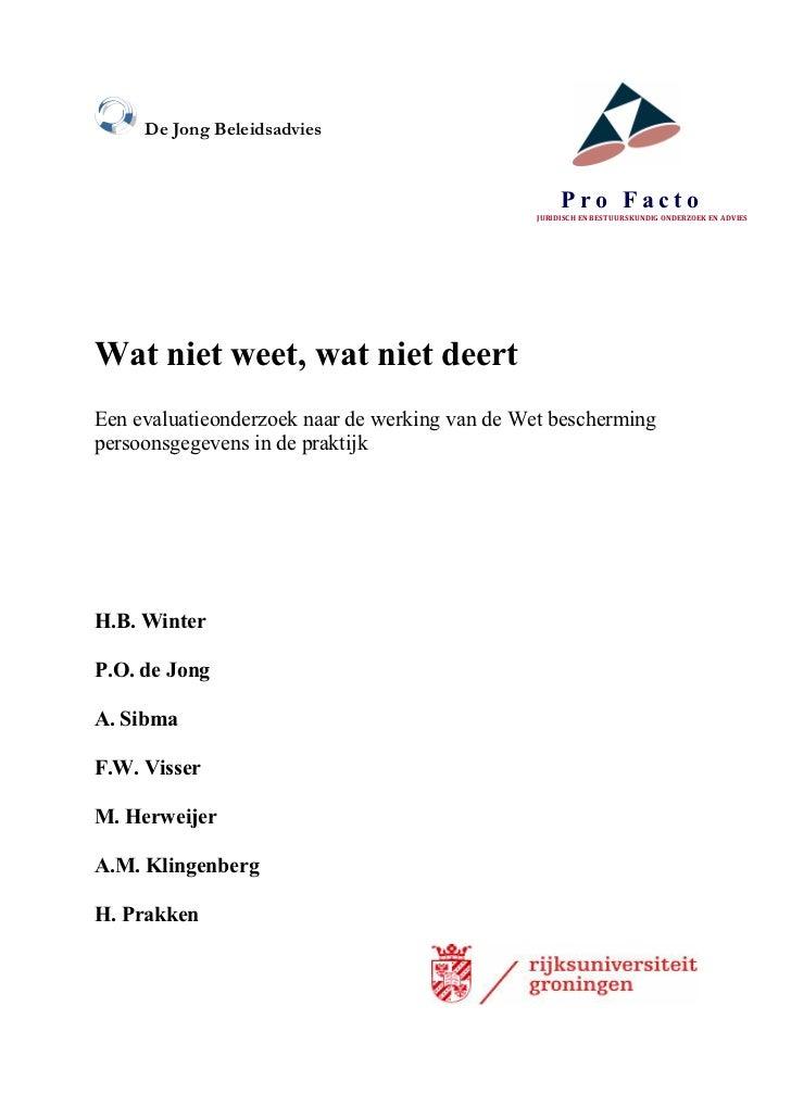 De Jong Beleidsadvies                                                     Pro Facto                                       ...