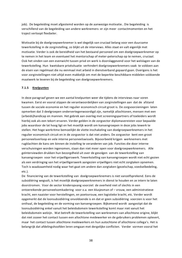 motivatiebrief zorgsector Eindrapport kansengroepen in de zorgsector januari 2011 led sociale e…
